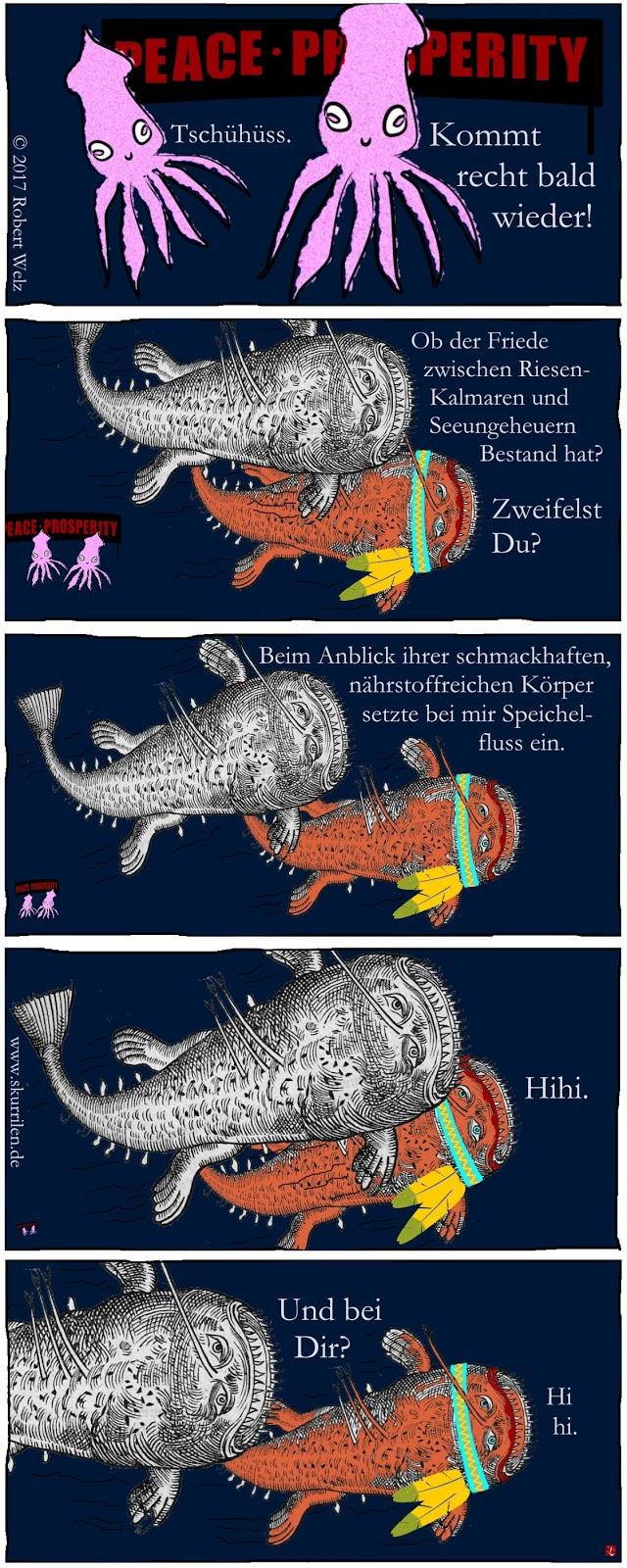 satirische Comic-Geschichte um Krieg und Frieden in der Tiefsee. Wird die Übereinkunft zwischen Riesen-Kalmaren und Seeungeheuern halten. F. Mulder ist skeptisch.