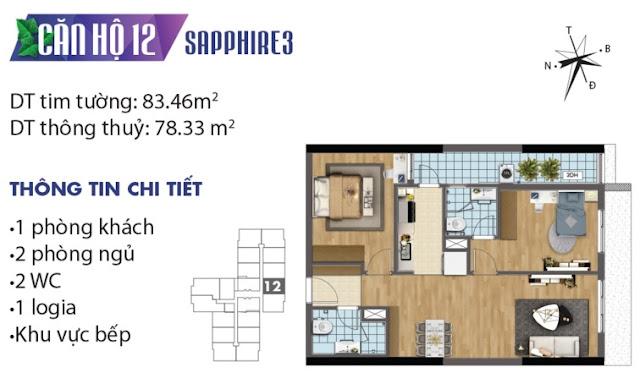 Thiết kế căn hộ số 12 tòa Sapphire 3