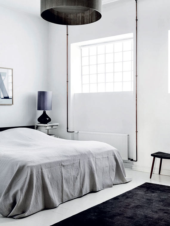 Industrial scandinavian bedroom