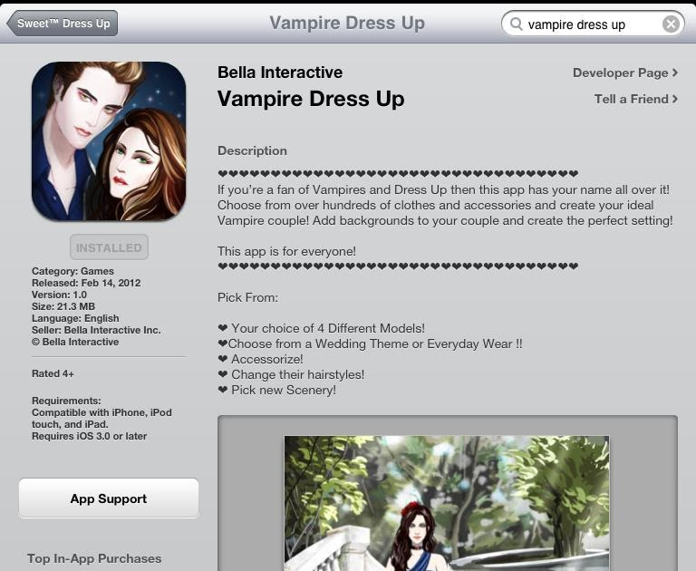 Twilighters Dream Vampire Dress Up App