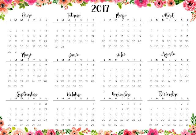 Heli papeles calendarios 2017 y planner semanal imprimible - Calendario 2017 para imprimir por meses ...