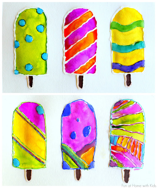 crafts for kids with paper, easy DIY craft ideas for kids, easy paper crafts for kids, DIY craft ideas Popsicle Resist Art with Free Popsicle Template from Fun at Home with Kids