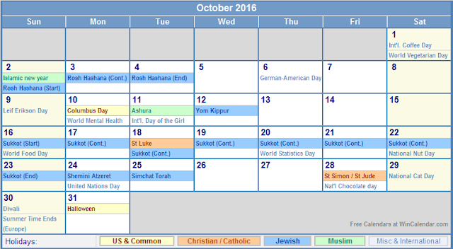 October 2016 Calendar Holidays USA, October 2016 Calendar Holidays UK, October 2016 Calendar Holidays Canada, October 2016 Calendar Holidays USA Australia, October 2016 Calendar with Holidays, October 2016 Religious Holiday Calendar