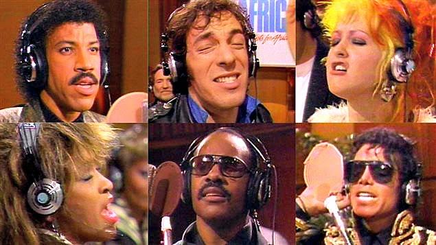 "Vocalistas de ""We Are the World"": Lionel Richie, Bruce Springsteen, Cyndi Lauper,  Tina Turner, Stevie Wonder e Michael Jackson."