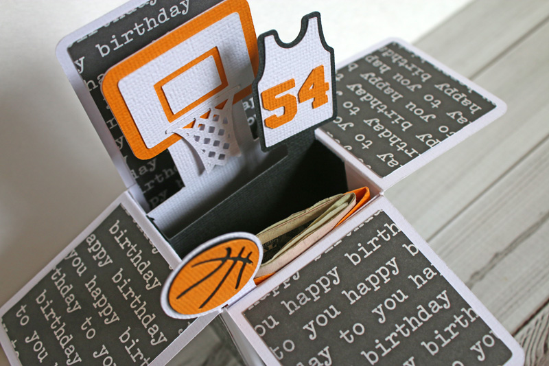 Taylor stamped basketball box card i wanted to make sure it felt like a birthday card too so i decorated the box with some coordinating black and white birthday paper from pebbles inc bookmarktalkfo Image collections