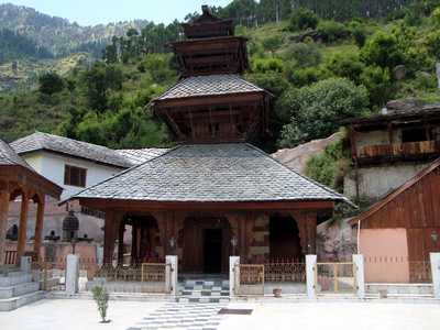 Adi Brahma Temple at Khokhan, Himachal Pradesh, built in the early 14th century. This 4-tiered pagoda temple is nearly 20 meters high.