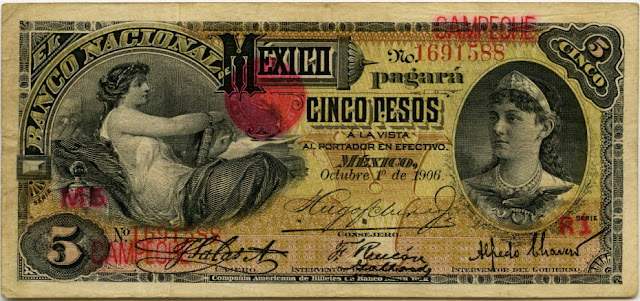 Mexico 5 pesos currency money banknotes