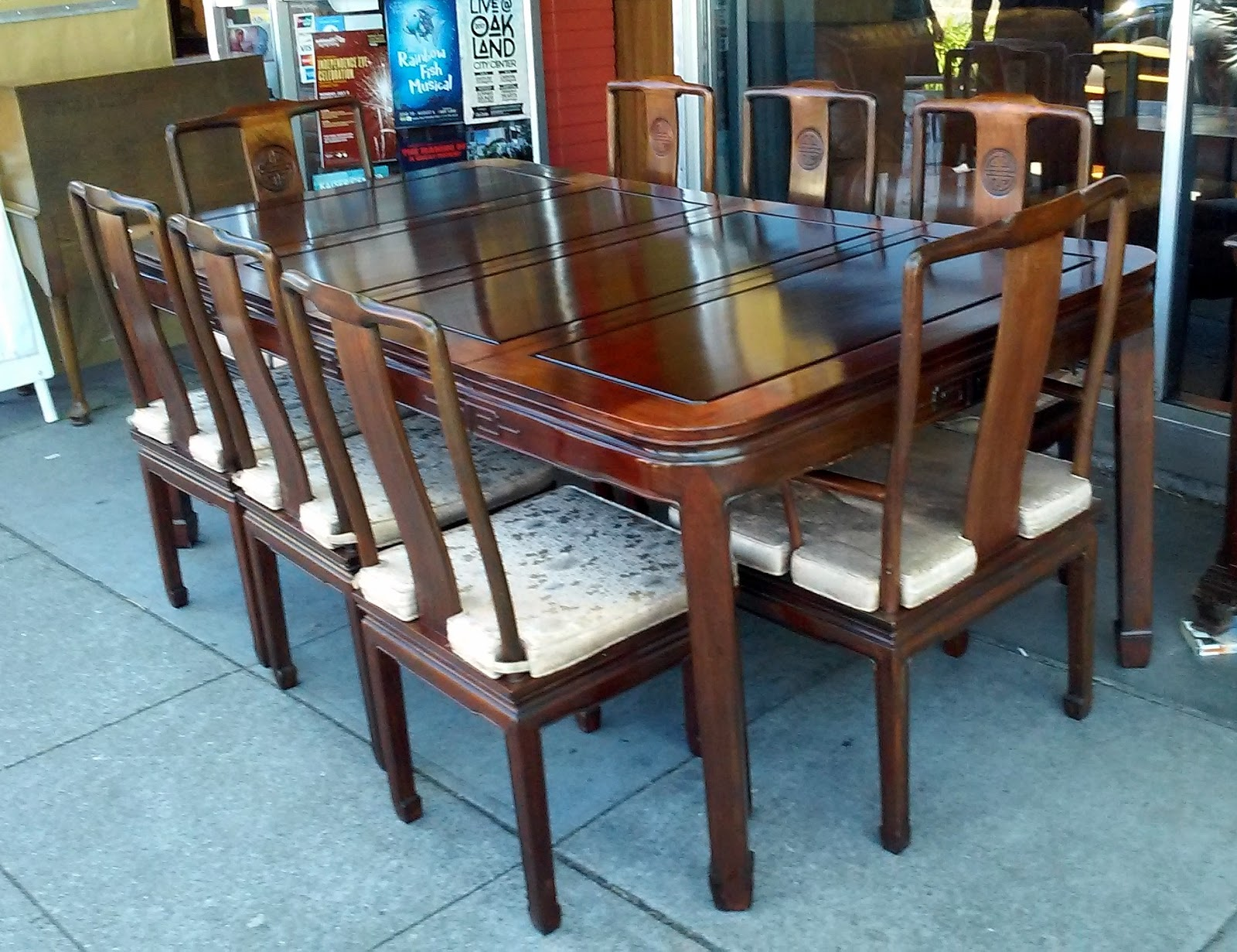 SOLD #1970 Chinese Rosewood Dining Set: Table, 2 Leaves, 8 Chairs   $495