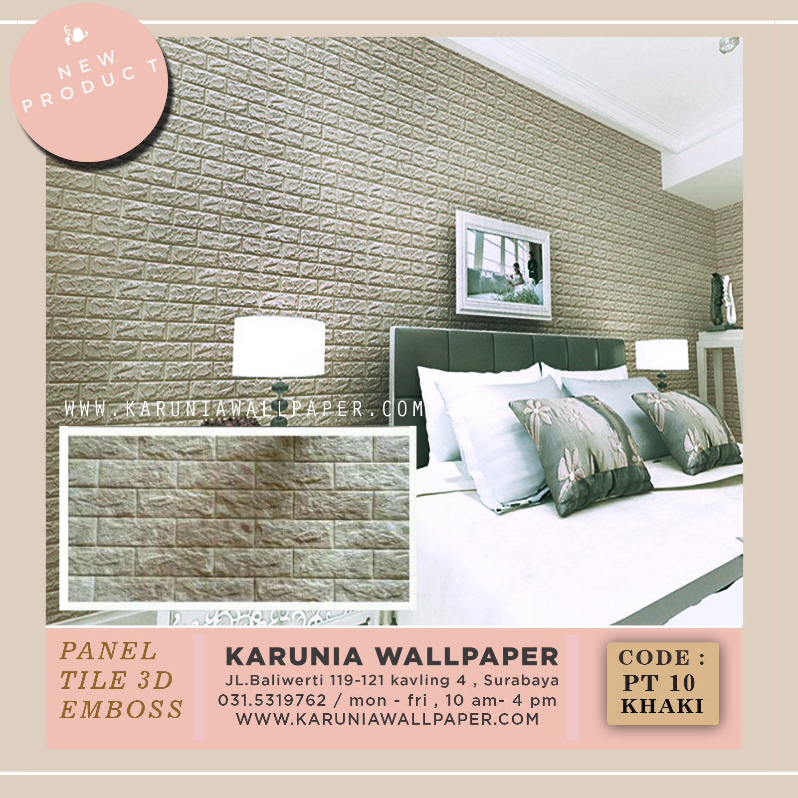 karunia wallpaper 3D timbul emboss surabaya