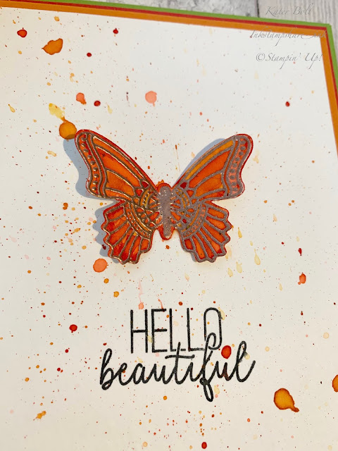 Butterfly card, with copper heat embossing and watercolouring in Poppy Parade, Pumpkin Pie and Granny Apple Green for the Inspire Create Challenge. Butterfly Gala Stampin Up