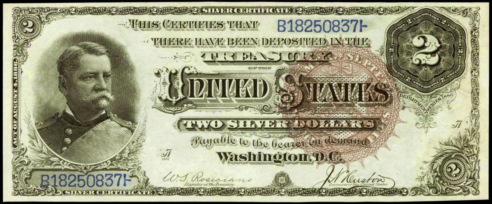 US currency Two Dollar Silver Certificate General Winfield Scott Hancock 1886