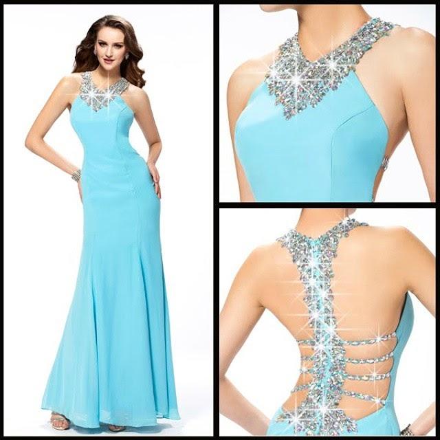 Aqua Halter Maxi Dress With Inlay