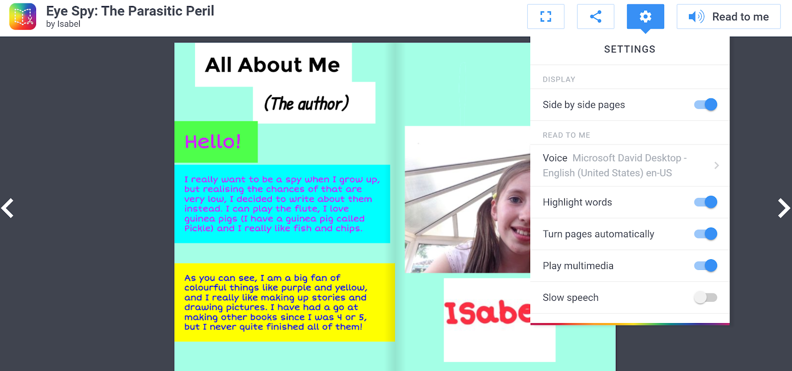 free technology for teachers book creator now offers read to me