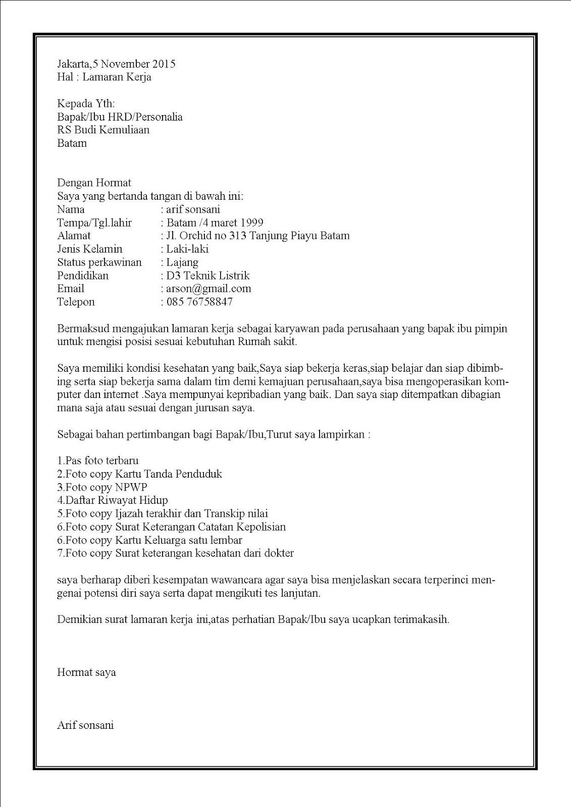 Contoh surat lamaran kerja di rumah sakit inisiatif sendiri
