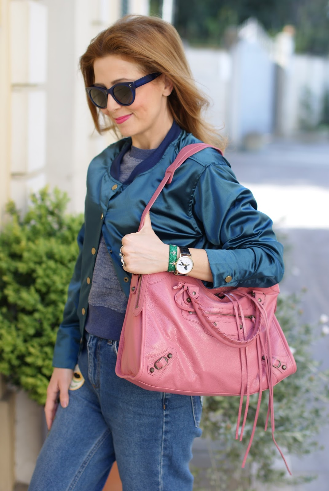 Choies satin bomber, pink Balenciaga bag on Fashion and Cookies fashion blog, fashion blogger style