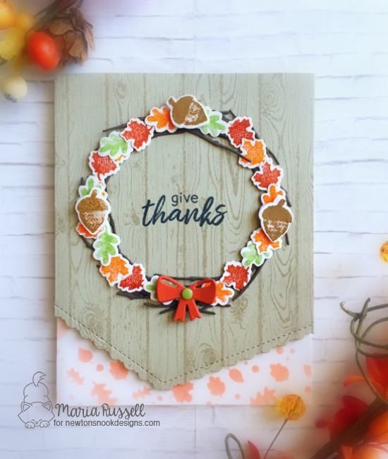 Fall Wreath Card by Maria Russell | Shades of Autumn Stamp Set and Falling Leaves Stencil by Newton's Nook Designs #newtonsnook #handmade