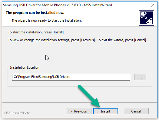 Install Button Samsung USB Driver Windows
