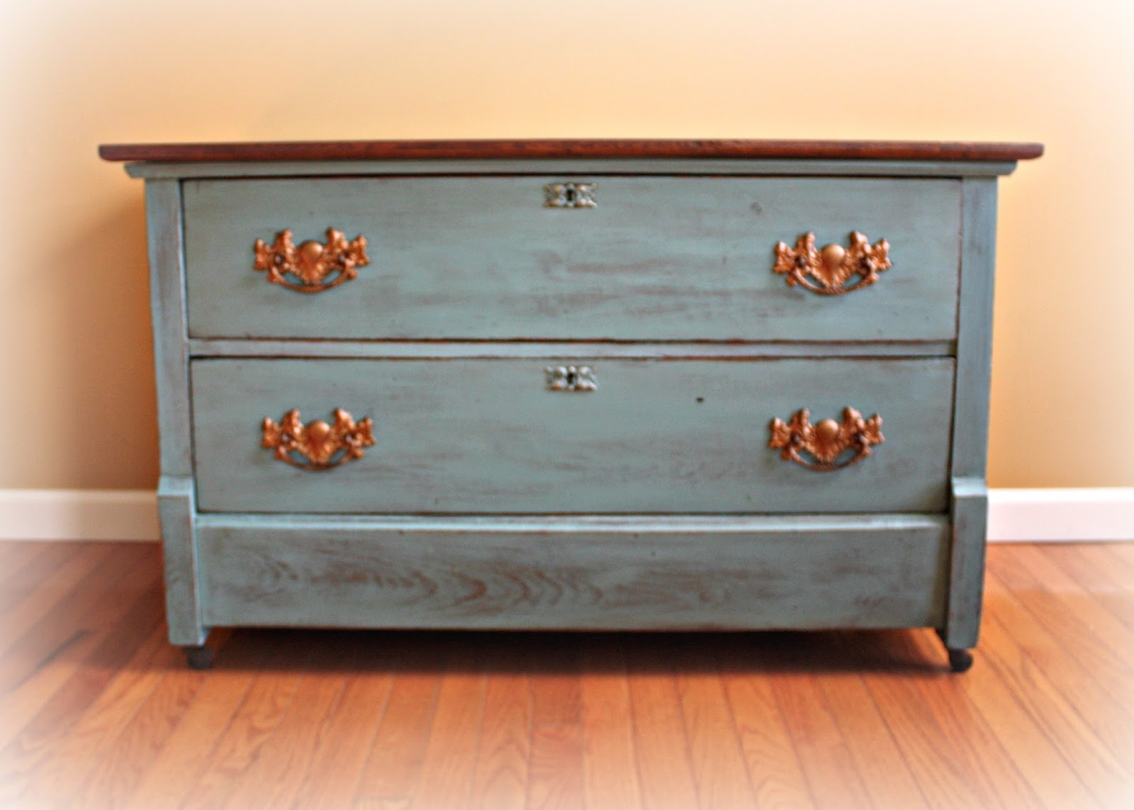 Antique two drawer dresser paint in Provence Annie Sloan Chalk Paint