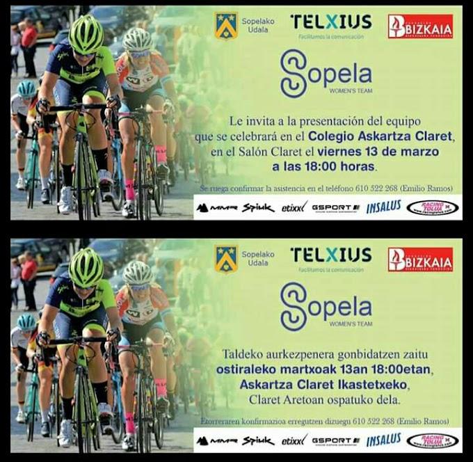 La presentación del Sopela Women's Team será el 13 de marzo