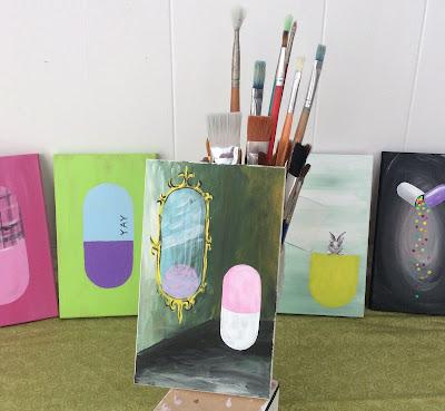 Pill in a mirror Painting Stefanie Lynn Girard, Pill art, Drug art, pharmacy art, pop art, modern art