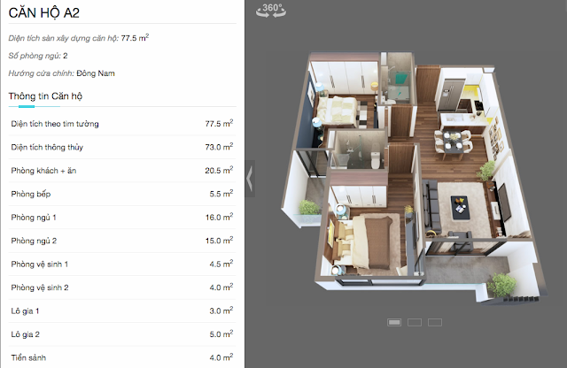 Thiết kế chi tiết căn hộ A2 chung cư The Legend
