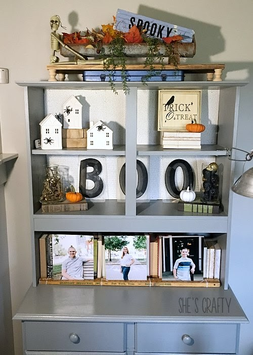 gray painted cabinet, holiday farmhouse decorations, how to add Halloween Charm to your every day home decor