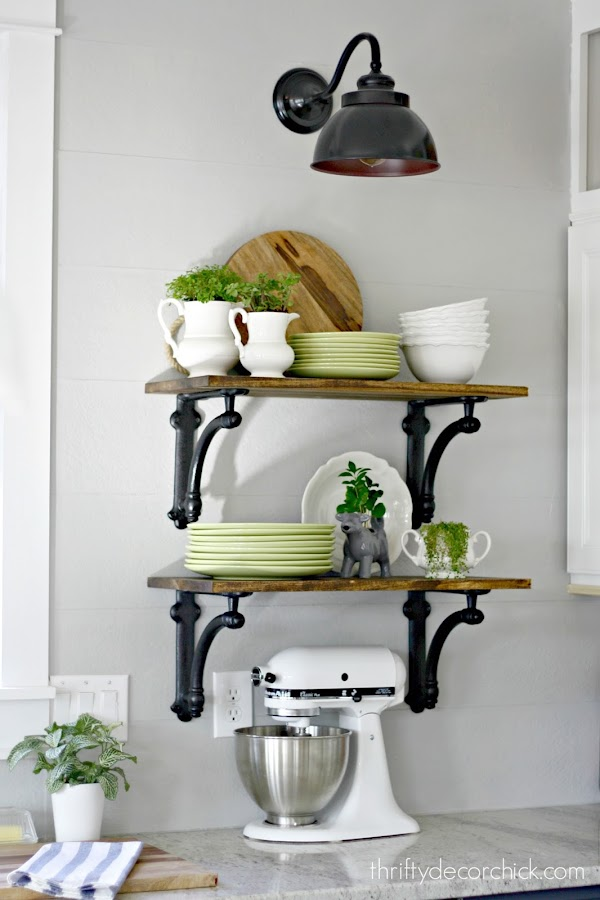 kitchen shelves with brackets
