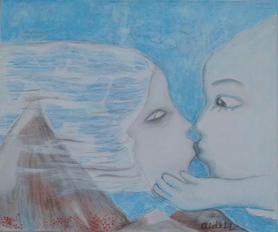 #AideLL #romantic art #mixed media #blue art #mountain #illustration #nursery art