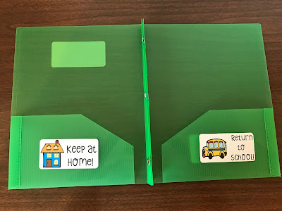 Label student folders with Keep at Home and Return to School stickers to manage papers going from school to home!