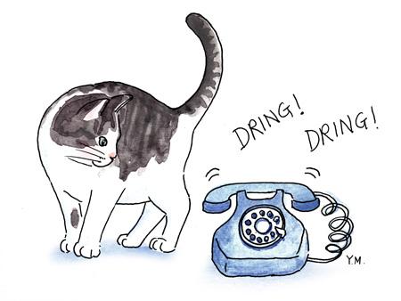 Cat and telephone by Yukié Matsushita