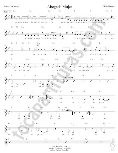 Ahogada Mujer Bambuco de Dieter Quiceno Partitura Fácil con Acordes Ahogada Mujer Sheet Music with Chords