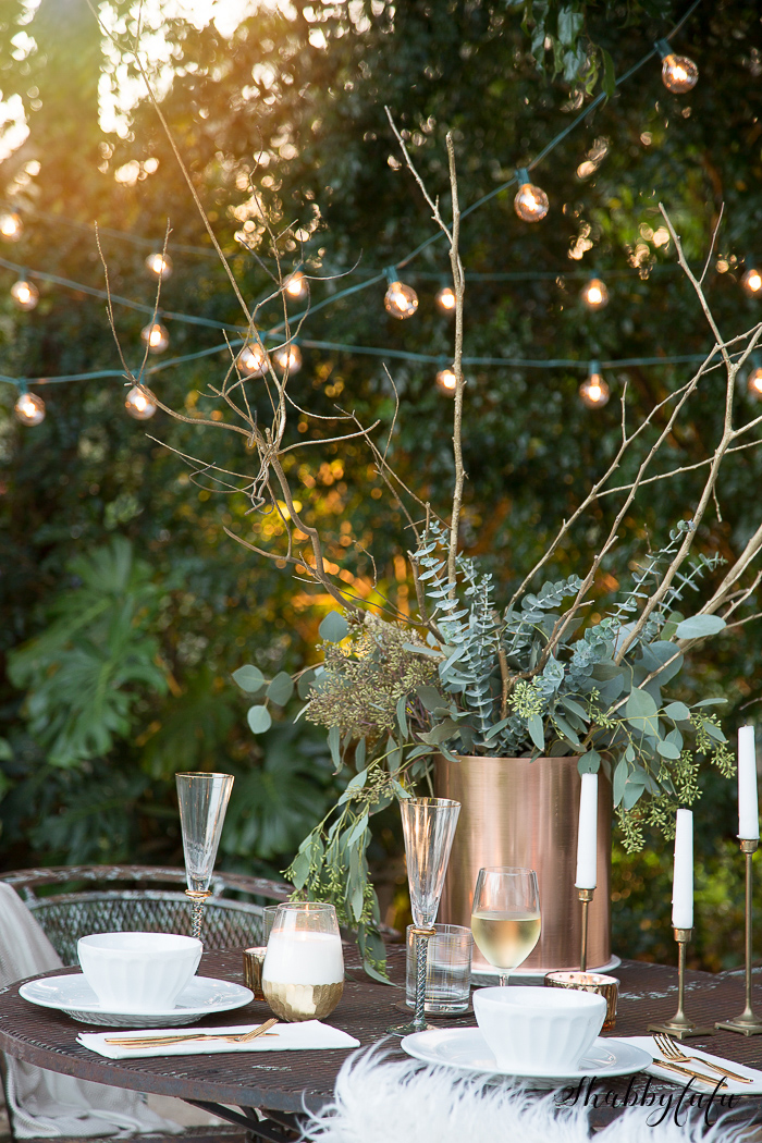 fall garden decorating twinkle lights