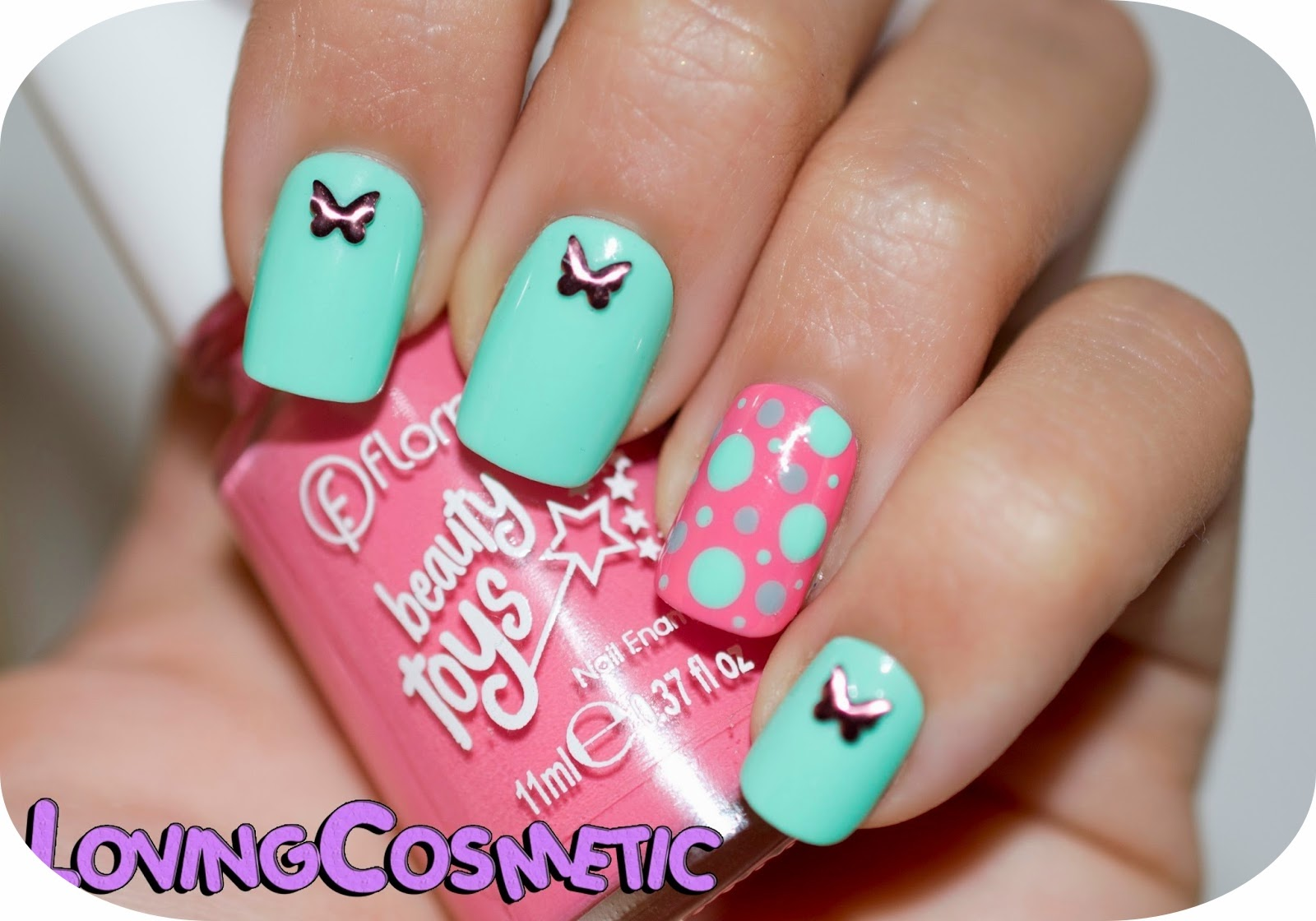 Mariposas y puntos Nail Art butterfly and dots bornprettystore easy flormar beautytoys