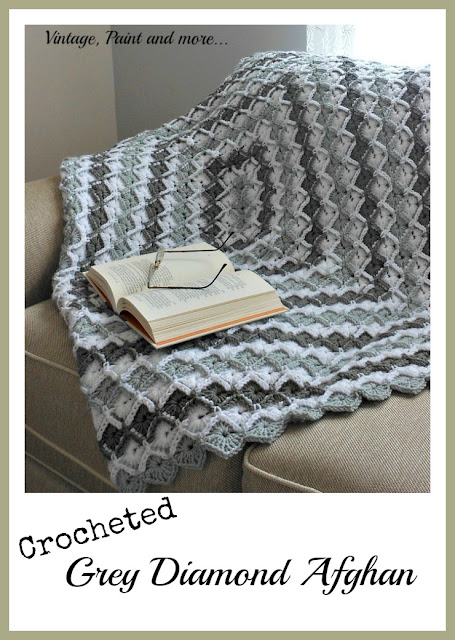 Vintage, Paint and more... a crocheted afghan done in a diamond pattern with I Love That Yarn