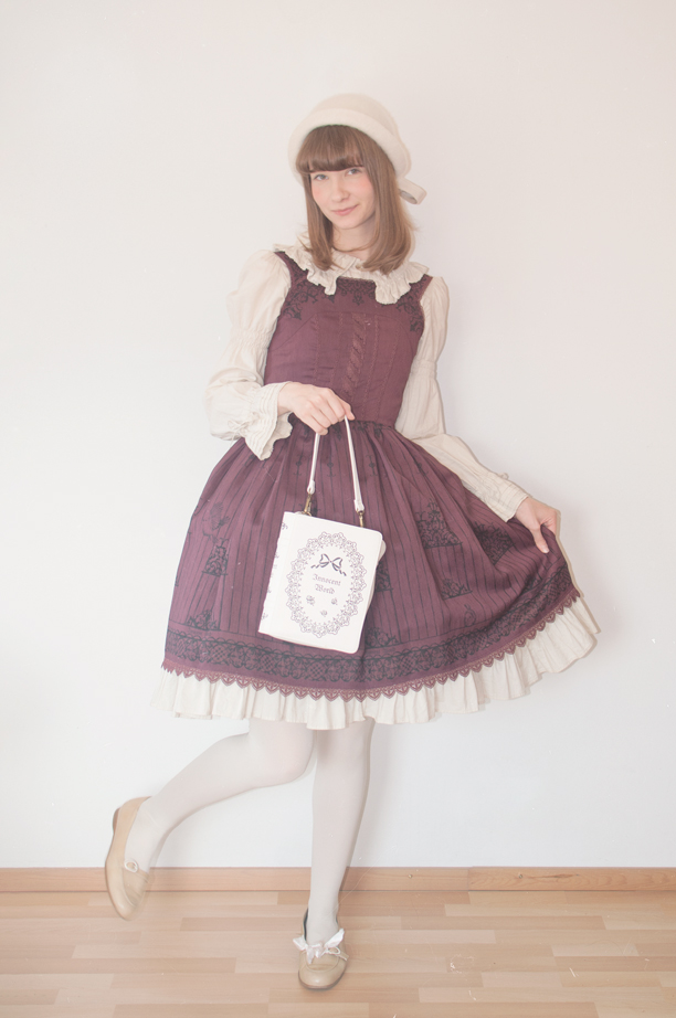 a finnish classic lolita facing forward in innocent world's birdcage jsk