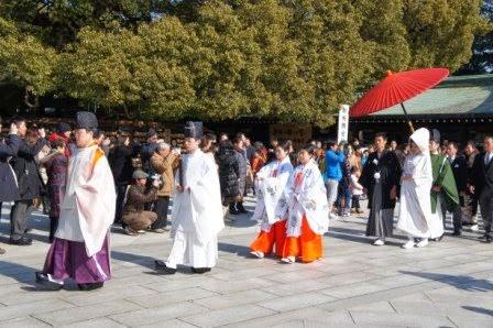 Tokyo - Wedding procession near Meiji Shrine