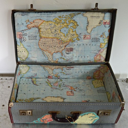 Suitcase With Map Print