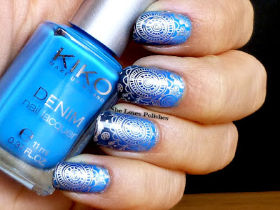 She Loves Polishes: Blue gradient and stamping