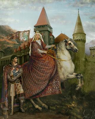 pintura del rey arturo a las afueras del castillo con una dama