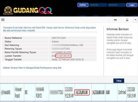 Selamat Kepada Member Setia GudangQQ WD sebesar Rp. 14,326,000.-