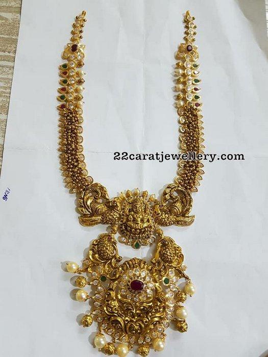 Swirls Necklace with Peacock Lakshmi Pendant
