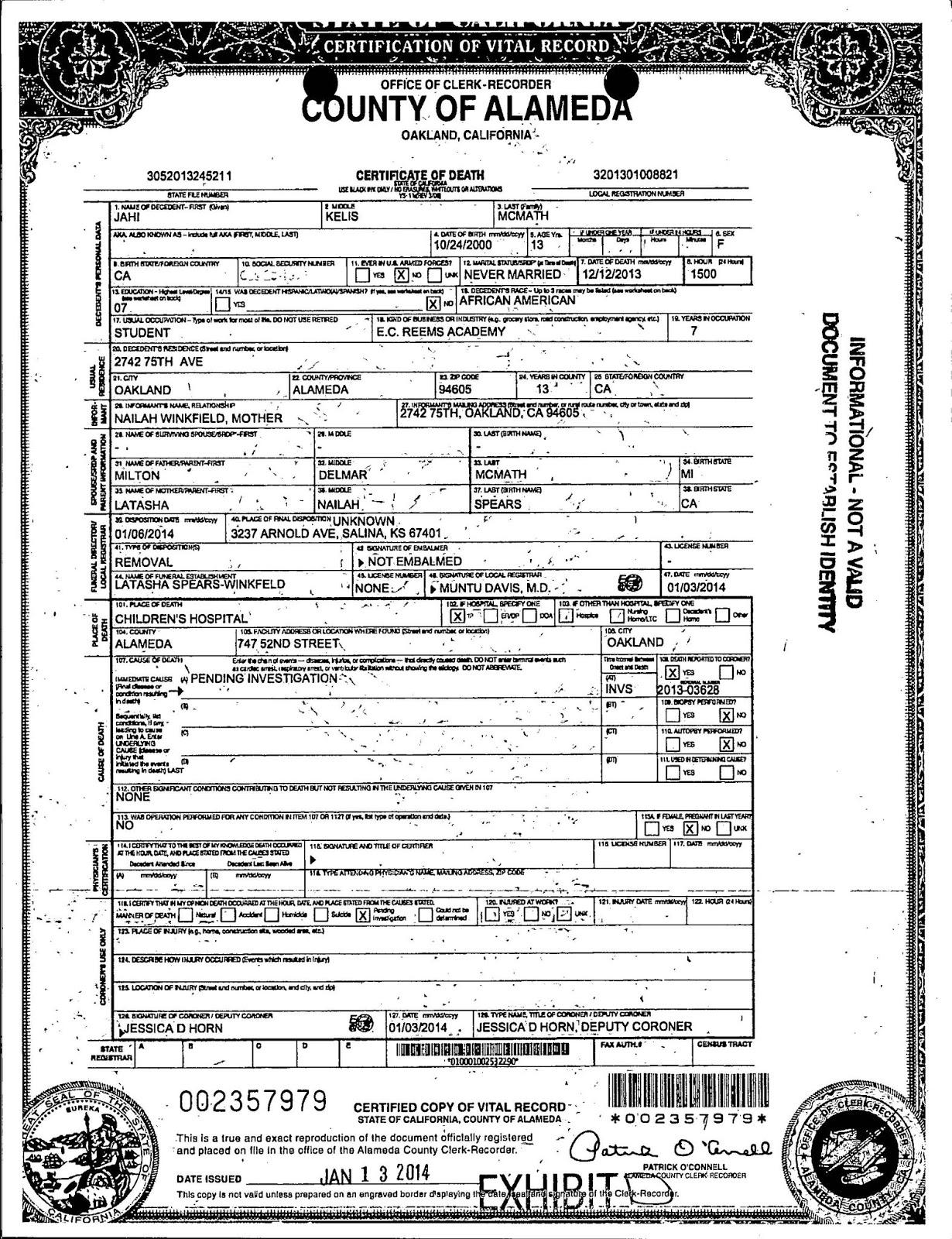 Medical Futility Blog Jahi Mcmath Status Of Her Lawsuits
