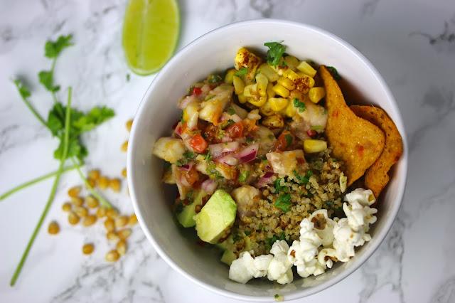 Sea Bass Ceviche and Crispy Quinoa Bowls