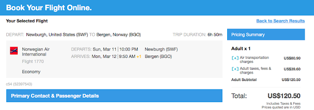 Bergen flight ticket