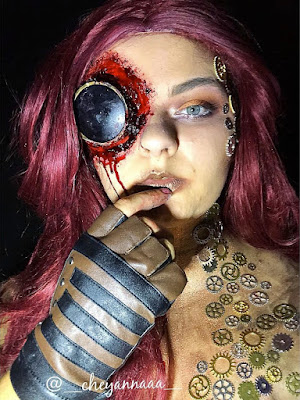 steampunk makeup how to DIY special fx makeup how to glue gears to skin