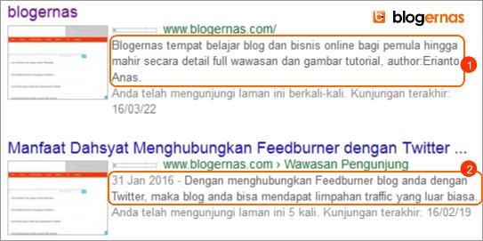 Perbedaan Deskripsi Blog dengan Deskripsi Penelusuran