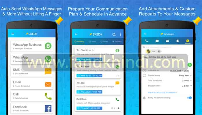 SKEDit Scheduling App: Schedule WhatsApp SMS Calls-7 Must Have Android Apps For WhatsApp Users in 2020