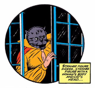 "Batman (1940) #3 Page 41 Panel 2: Cat-Woman makes her ""debut"" as a woman who has a head that looks like an actual cat's."