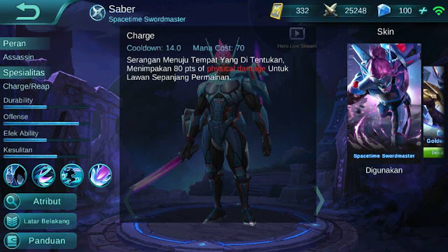 Saber, Jenis Hero Dalam Game Mobile Legend