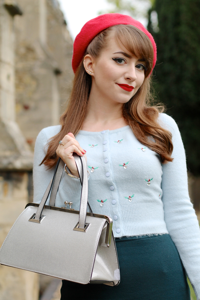 Hell Bunny Christmas outfit with December cardigan and Tippi bag